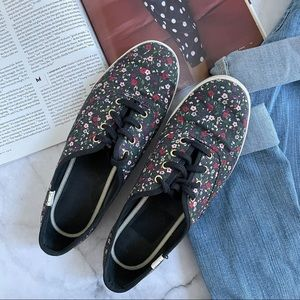 Kate Spade x Keds black floral canvas sneakers 8